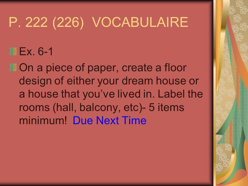 P. 222 (226) VOCABULAIRE Ex.