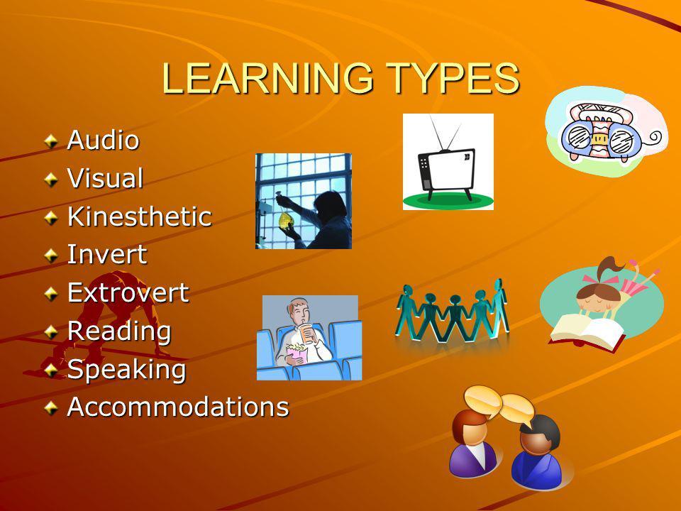 LEARNING TYPES AudioVisualKinestheticInvertExtrovertReadingSpeakingAccommodations