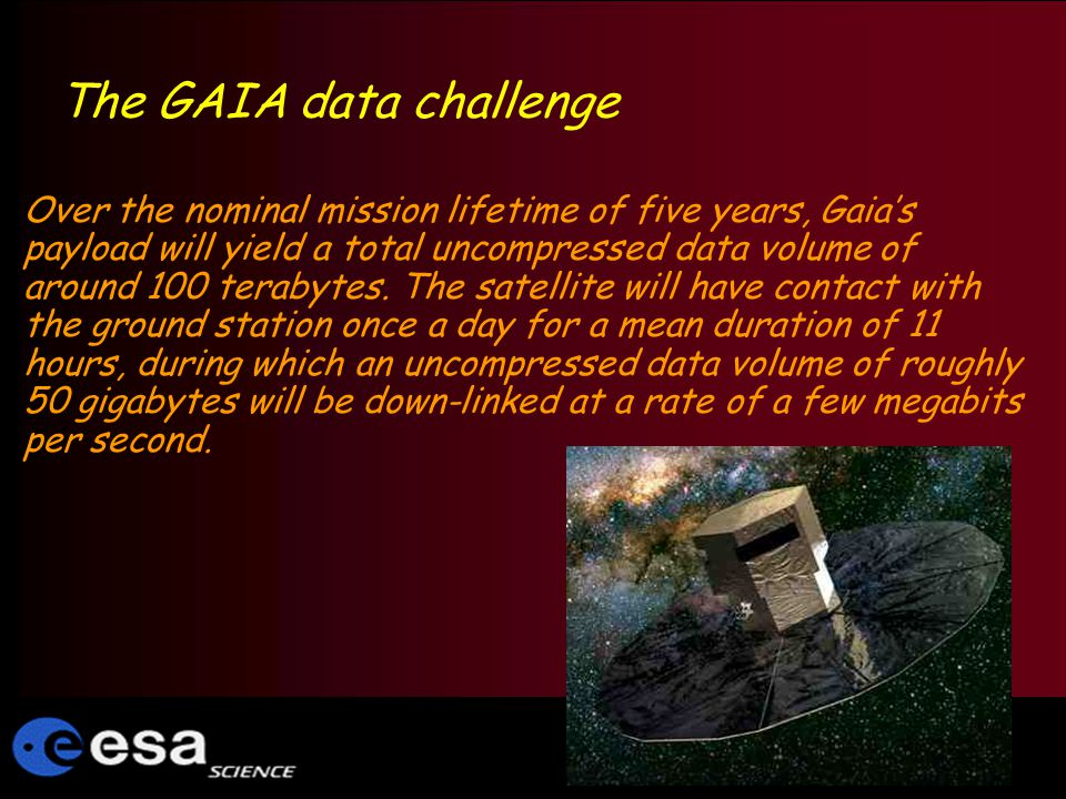 The GAIA data challenge Over the nominal mission lifetime of five years, Gaias payload will yield a total uncompressed data volume of around 100 terabytes.