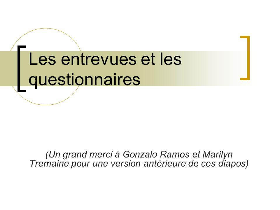 Les entrevues et les questionnaires (Un grand merci à Gonzalo Ramos et Marilyn Tremaine pour une version antérieure de ces diapos)