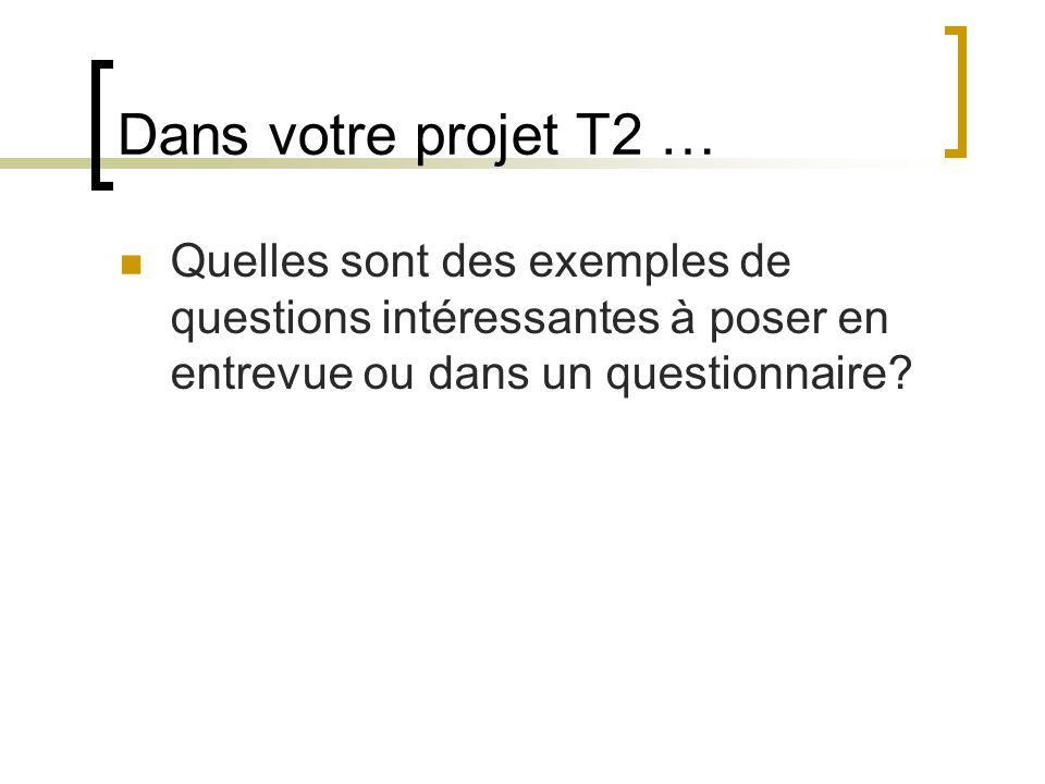 Dans votre projet T2 … Quelles sont des exemples de questions intéressantes à poser en entrevue ou dans un questionnaire?