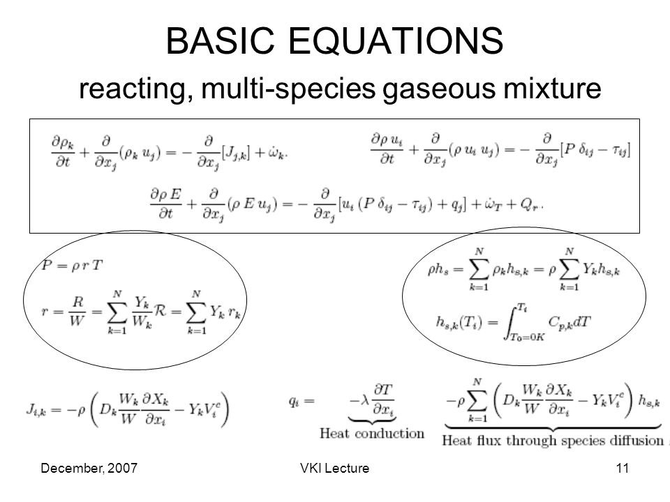December, 2007VKI Lecture11 BASIC EQUATIONS reacting, multi-species gaseous mixture