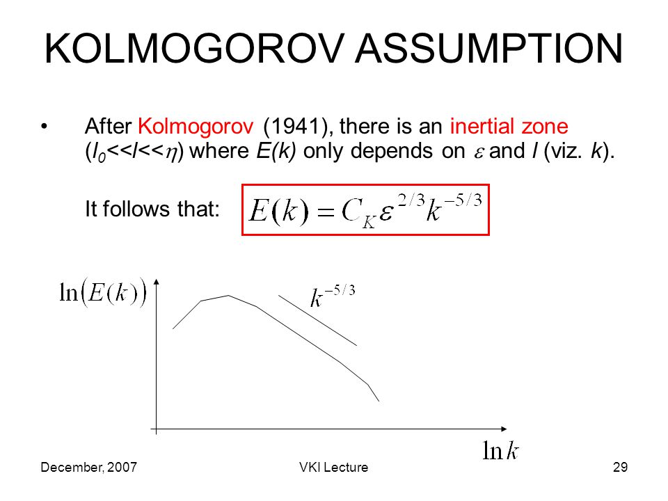 December, 2007VKI Lecture29 KOLMOGOROV ASSUMPTION After Kolmogorov (1941), there is an inertial zone (l 0 <<l<< ) where E(k) only depends on and l (viz.