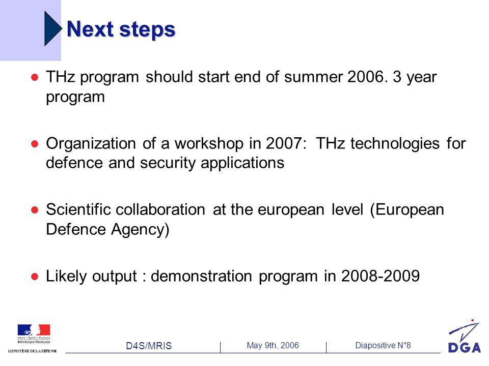 D4S/MRIS May 9th, 2006Diapositive N°8 MINISTÈRE DE LA DÉFENSE Next steps THz program should start end of summer 2006. 3 year program Organization of a
