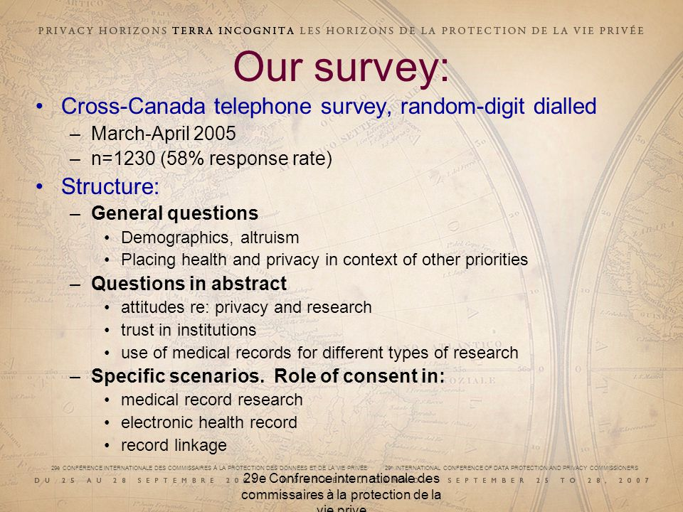 29e CONFÉRENCE INTERNATIONALE DES COMMISSAIRES À LA PROTECTION DES DONNÉES ET DE LA VIE PRIVÉE 29 th INTERNATIONAL CONFERENCE OF DATA PROTECTION AND PRIVACY COMMISSIONERS 29e Confrence internationale des commissaires à la protection de la vie prive Our survey: Cross-Canada telephone survey, random-digit dialled –March-April 2005 –n=1230 (58% response rate) Structure: –General questions Demographics, altruism Placing health and privacy in context of other priorities –Questions in abstract attitudes re: privacy and research trust in institutions use of medical records for different types of research –Specific scenarios.