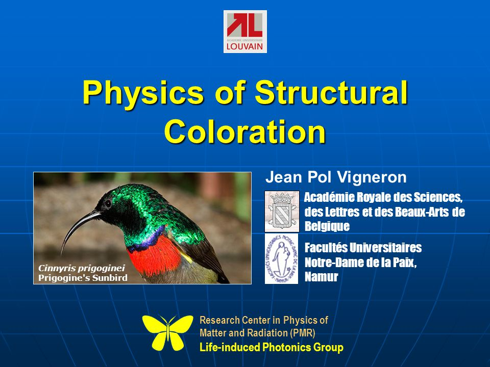 Physics of Structural Coloration Research Center in Physics of Matter and Radiation (PMR) Life-induced Photonics Group Académie Royale des Sciences, d