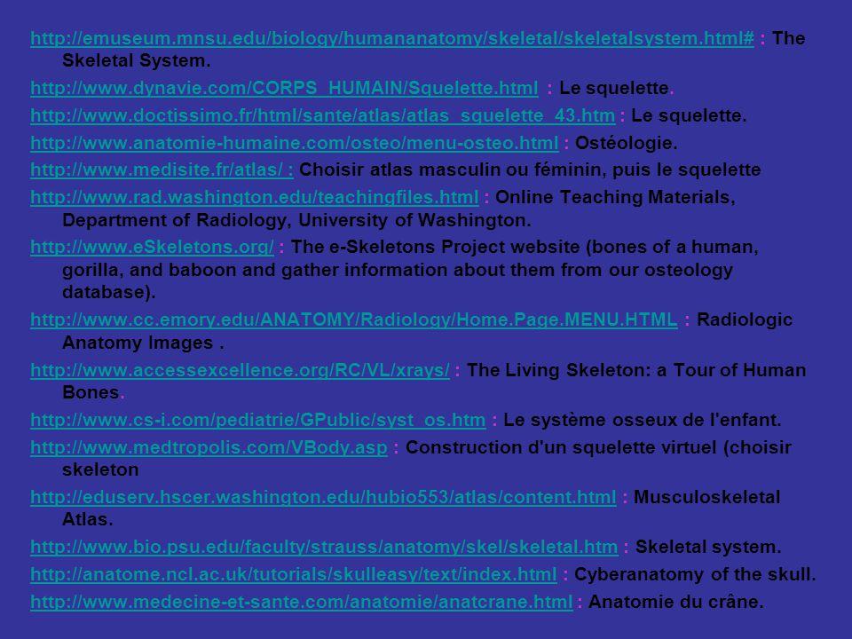 http://emuseum.mnsu.edu/biology/humananatomy/skeletal/skeletalsystem.html#http://emuseum.mnsu.edu/biology/humananatomy/skeletal/skeletalsystem.html# : The Skeletal System.