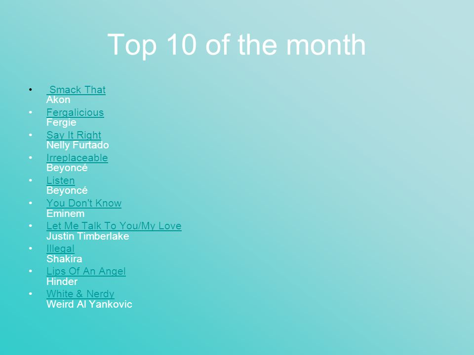 Top 10 of the month Smack That Akon Smack That Fergalicious FergieFergalicious Say It Right Nelly FurtadoSay It Right Irreplaceable BeyoncéIrreplaceab