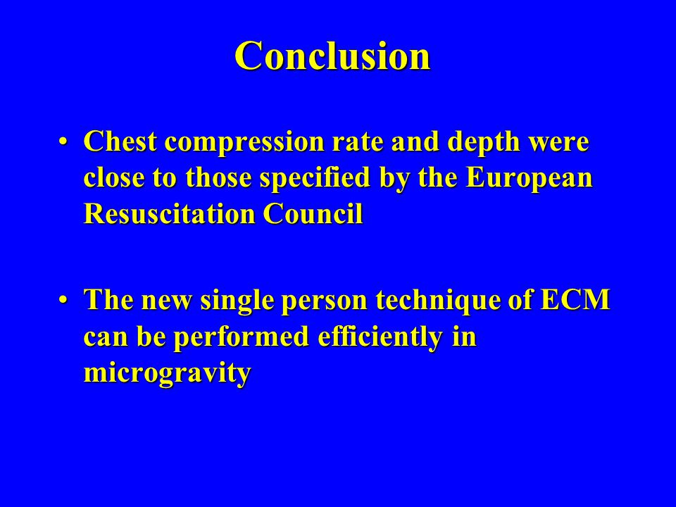 Conclusion Chest compression rate and depth were close to those specified by the European Resuscitation CouncilChest compression rate and depth were c
