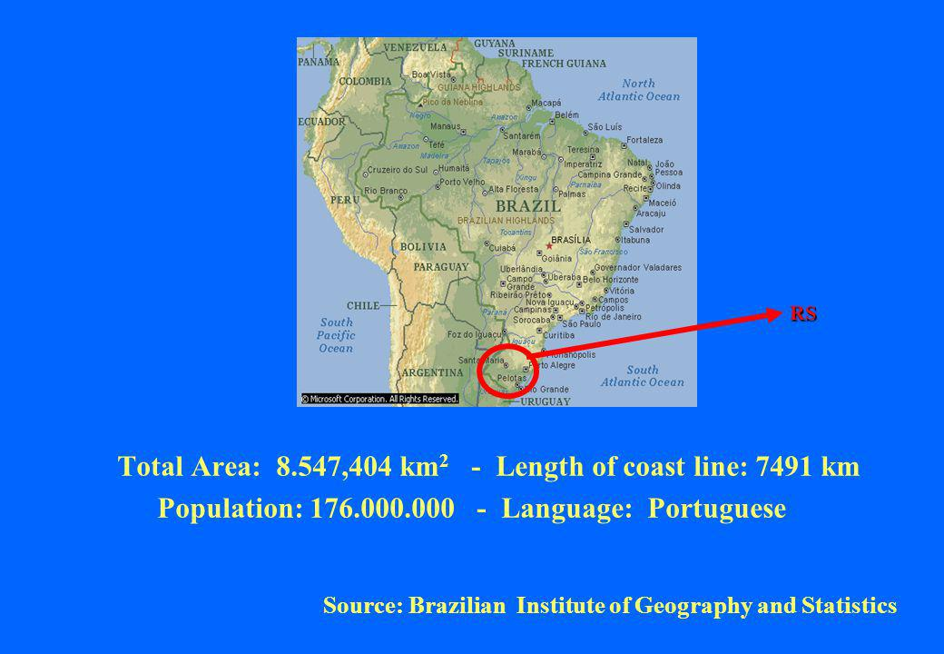 Total Area: 8.547,404 km 2 - Length of coast line: 7491 km Population: 176.000.000 - Language: Portuguese Source: Brazilian Institute of Geography and Statistics RS
