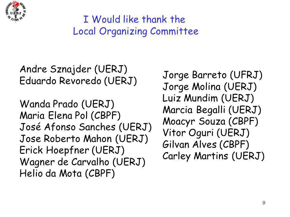 9 LISHEP 2006 I Would like thank the Local Organizing Committee Andre Sznajder (UERJ) Eduardo Revoredo (UERJ) Wanda Prado (UERJ) Maria Elena Pol (CBPF) José Afonso Sanches (UERJ) Jose Roberto Mahon (UERJ) Erick Hoepfner (UERJ) Wagner de Carvalho (UERJ) Helio da Mota (CBPF) Jorge Barreto (UFRJ) Jorge Molina (UERJ) Luiz Mundim (UERJ) Marcia Begalli (UERJ) Moacyr Souza (CBPF) Vitor Oguri (UERJ) Gilvan Alves (CBPF) Carley Martins (UERJ)