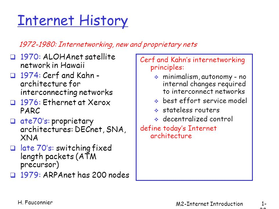 M2-Internet Introduction Internet History 1970: ALOHAnet satellite network in Hawaii 1974: Cerf and Kahn - architecture for interconnecting networks 1976: Ethernet at Xerox PARC ate70s: proprietary architectures: DECnet, SNA, XNA late 70s: switching fixed length packets (ATM precursor) 1979: ARPAnet has 200 nodes Cerf and Kahns internetworking principles: minimalism, autonomy - no internal changes required to interconnect networks best effort service model stateless routers decentralized control define todays Internet architecture : Internetworking, new and proprietary nets H.