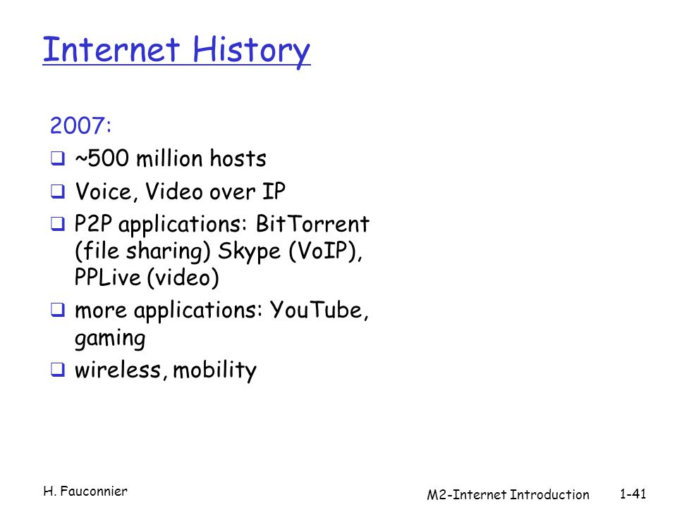 M2-Internet Introduction 1-41 Internet History 2007: ~500 million hosts Voice, Video over IP P2P applications: BitTorrent (file sharing) Skype (VoIP), PPLive (video) more applications: YouTube, gaming wireless, mobility H.