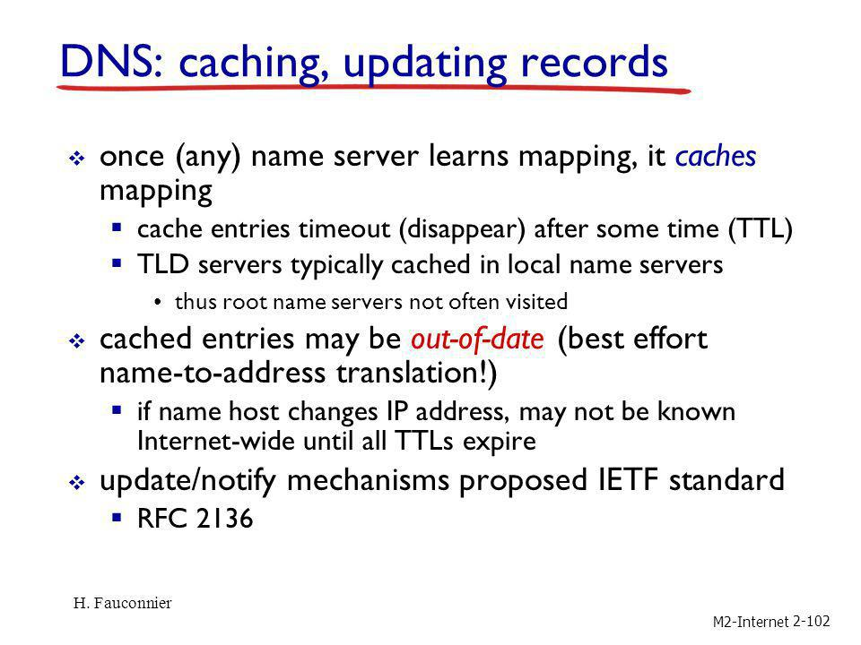 M2-Internet 2-102 DNS: caching, updating records once (any) name server learns mapping, it caches mapping cache entries timeout (disappear) after some