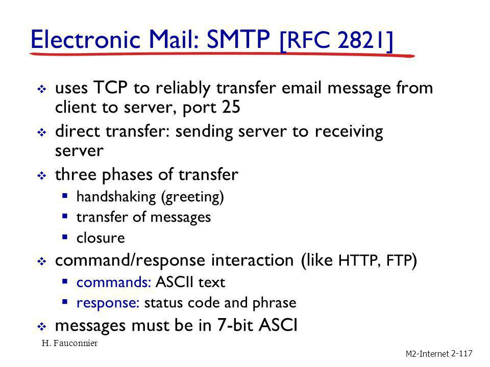 M2-Internet 2-117 Electronic Mail: SMTP [RFC 2821] uses TCP to reliably transfer email message from client to server, port 25 direct transfer: sending