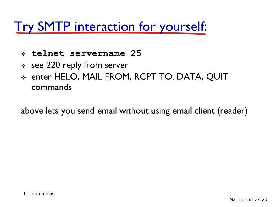 M2-Internet 2-120 Try SMTP interaction for yourself: telnet servername 25 see 220 reply from server enter HELO, MAIL FROM, RCPT TO, DATA, QUIT command