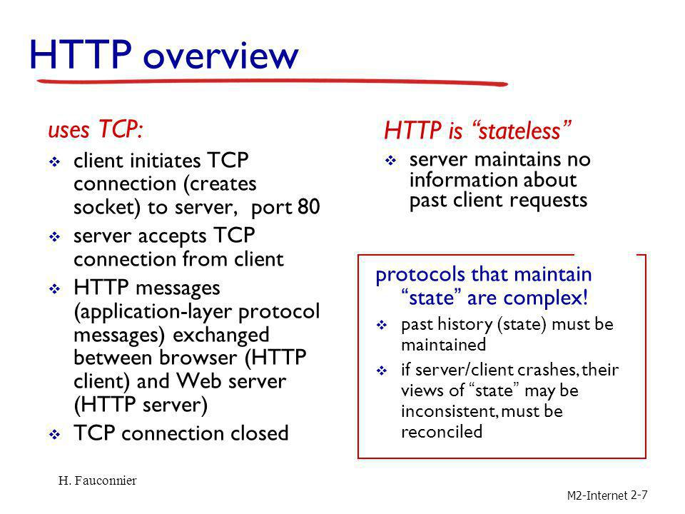 Overview M2-Internet Steps a client (browser) takes to follow a hyperlink: Determine the protocol (HTTP) Ask DNS for the IP address of server Make a TCP connection to server Send request for the page; server sends it back Fetch other URLs as needed to display the page Close idle TCP connections Steps a server takes to serve pages: Accept a TCP connection from client Get page request and map it to a resource (e.g., file name) Get the resource (e.g., file from disk) Send contents of the resource to the client.