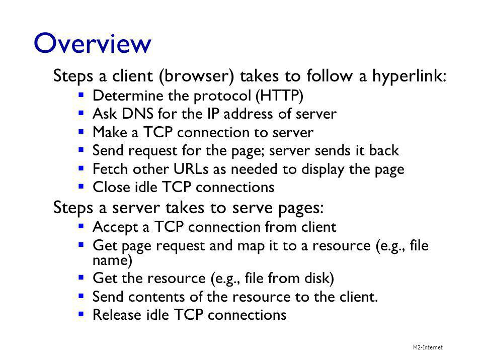 M2-Internet 2-29 Web caches (proxy server) user sets browser: Web accesses via cache browser sends all HTTP requests to cache object in cache: cache returns object else cache requests object from origin server, then returns object to client goal: satisfy client request without involving origin server client proxy server client HTTP request HTTP response HTTP request origin server origin server HTTP response H.