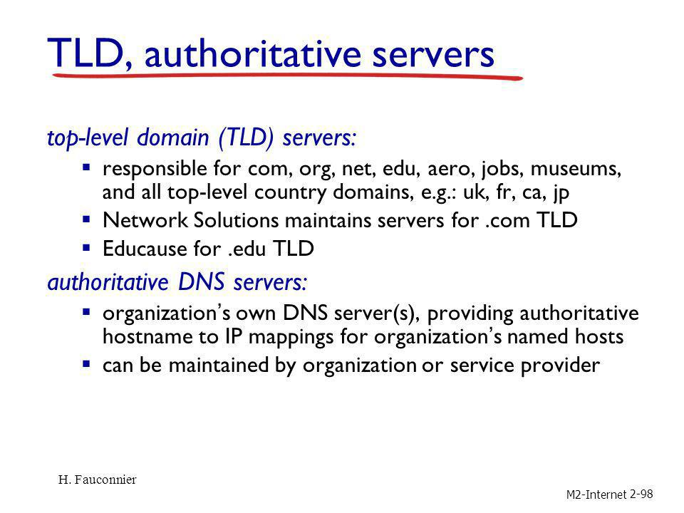 M2-Internet 2-98 TLD, authoritative servers top-level domain (TLD) servers: responsible for com, org, net, edu, aero, jobs, museums, and all top-level