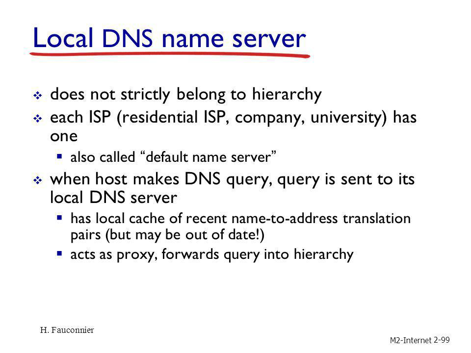 M2-Internet 2-99 Local DNS name server does not strictly belong to hierarchy each ISP (residential ISP, company, university) has one also called defau