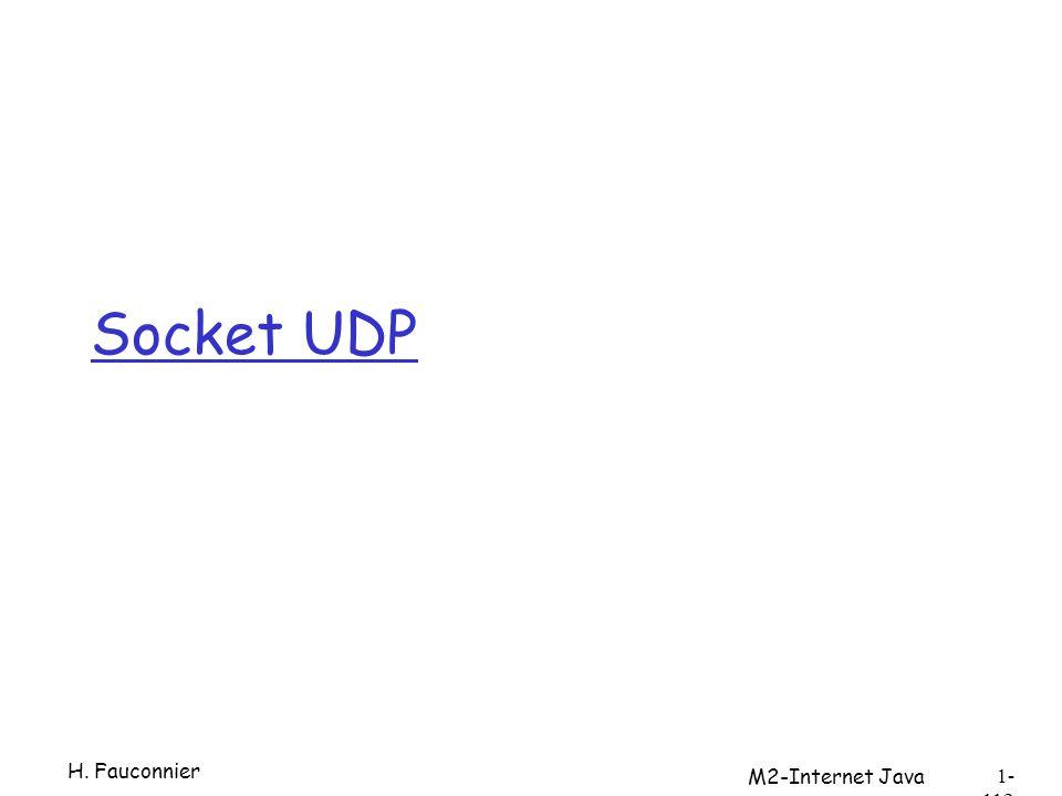 Socket UDP H. Fauconnier M2-Internet Java 1- 112