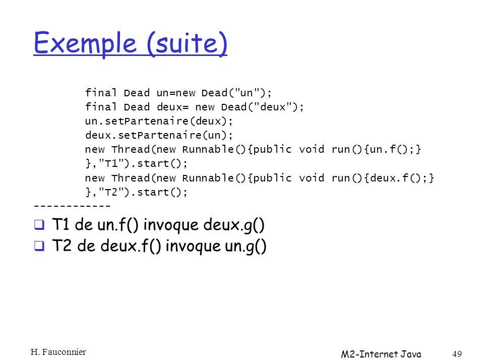 Exemple (suite) final Dead un=new Dead( un ); final Dead deux= new Dead( deux ); un.setPartenaire(deux); deux.setPartenaire(un); new Thread(new Runnable(){public void run(){un.f();} }, T1 ).start(); new Thread(new Runnable(){public void run(){deux.f();} }, T2 ).start(); ------------ T1 de un.f() invoque deux.g() T2 de deux.f() invoque un.g() H.