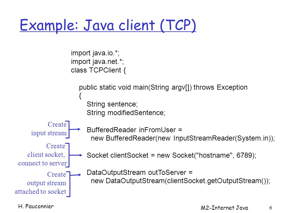 Example: Java client (TCP) H.
