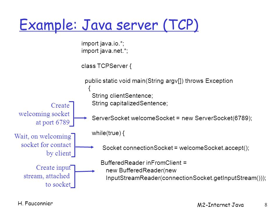 Example: Java server (TCP) H.