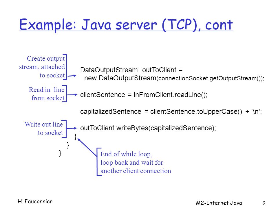 Example: Java server (TCP), cont H.