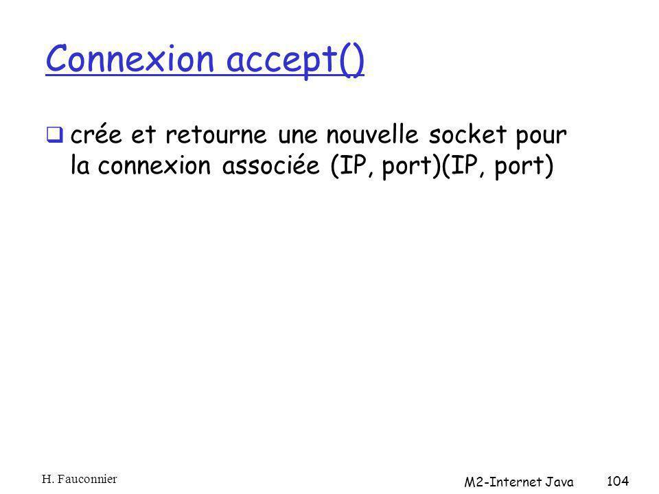 Connexion accept() crée et retourne une nouvelle socket pour la connexion associée (IP, port)(IP, port) H. Fauconnier M2-Internet Java 104