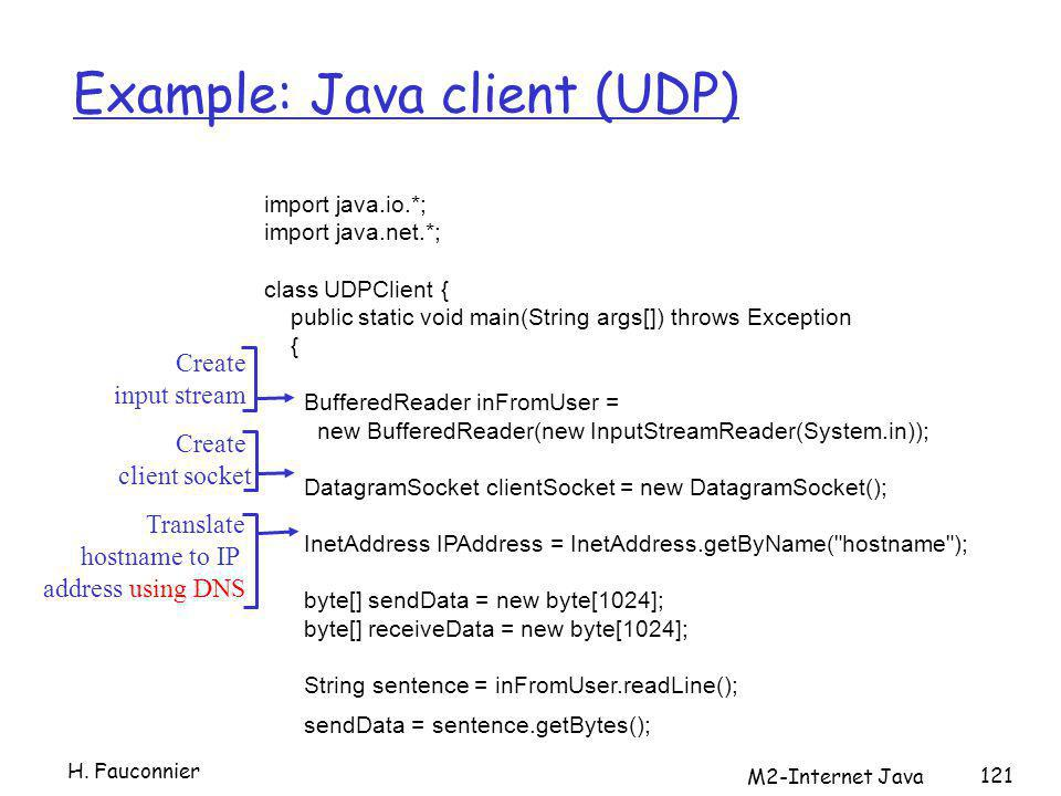 M2-Internet Java 121 Example: Java client (UDP) import java.io.*; import java.net.*; class UDPClient { public static void main(String args[]) throws Exception { BufferedReader inFromUser = new BufferedReader(new InputStreamReader(System.in)); DatagramSocket clientSocket = new DatagramSocket(); InetAddress IPAddress = InetAddress.getByName( hostname ); byte[] sendData = new byte[1024]; byte[] receiveData = new byte[1024]; String sentence = inFromUser.readLine(); sendData = sentence.getBytes(); Create input stream Create client socket Translate hostname to IP address using DNS H.