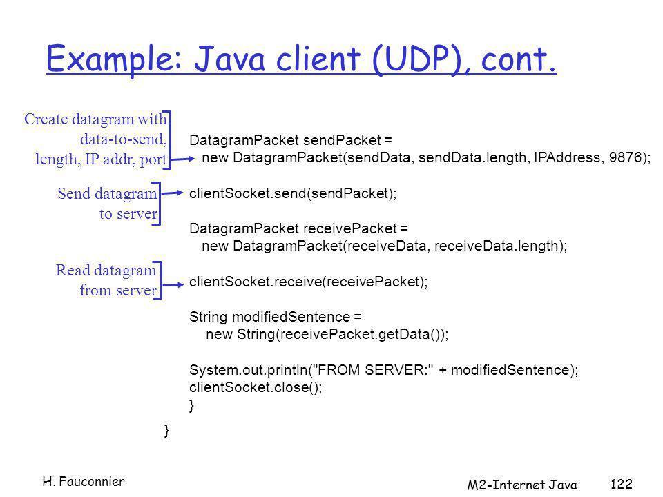 M2-Internet Java 122 Example: Java client (UDP), cont. DatagramPacket sendPacket = new DatagramPacket(sendData, sendData.length, IPAddress, 9876); cli