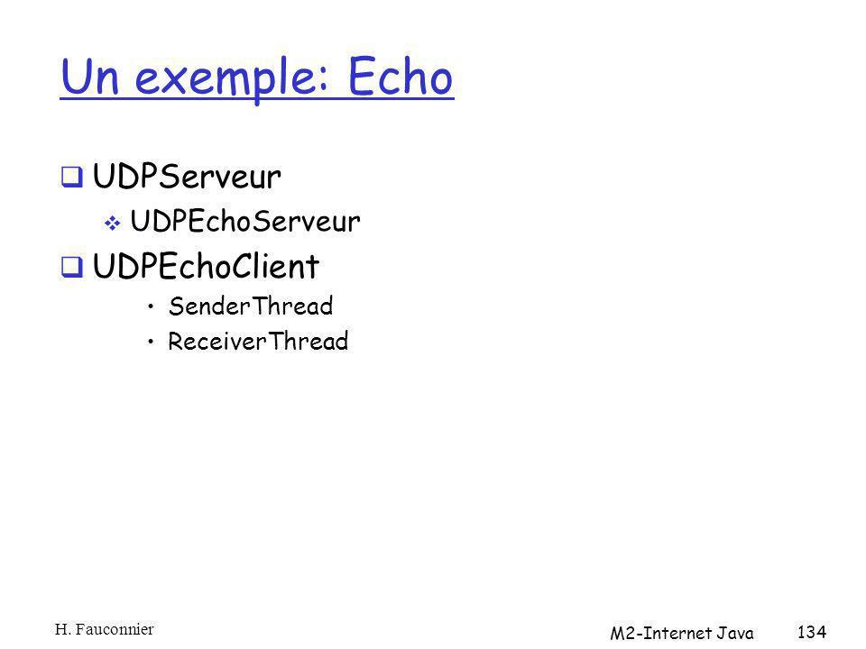 Un exemple: Echo UDPServeur UDPEchoServeur UDPEchoClient SenderThread ReceiverThread H. Fauconnier M2-Internet Java 134