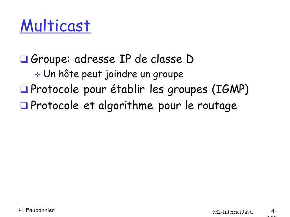 Multicast Groupe: adresse IP de classe D Un hôte peut joindre un groupe Protocole pour établir les groupes (IGMP) Protocole et algorithme pour le rout