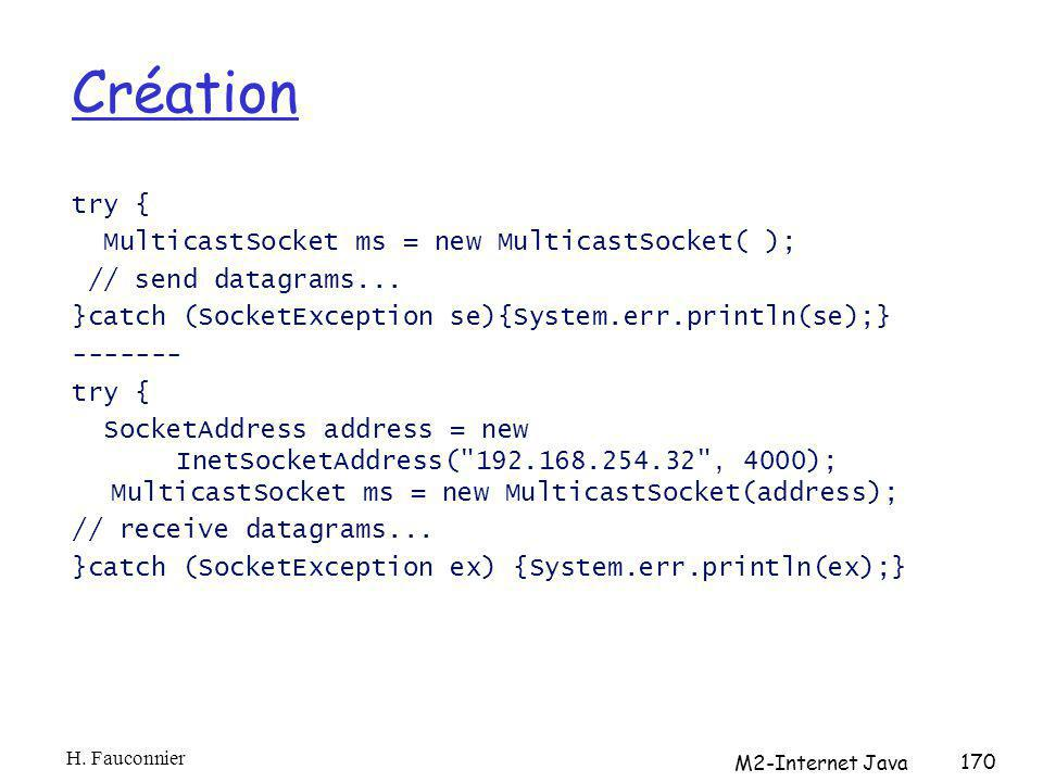 Création try { MulticastSocket ms = new MulticastSocket( ); // send datagrams...