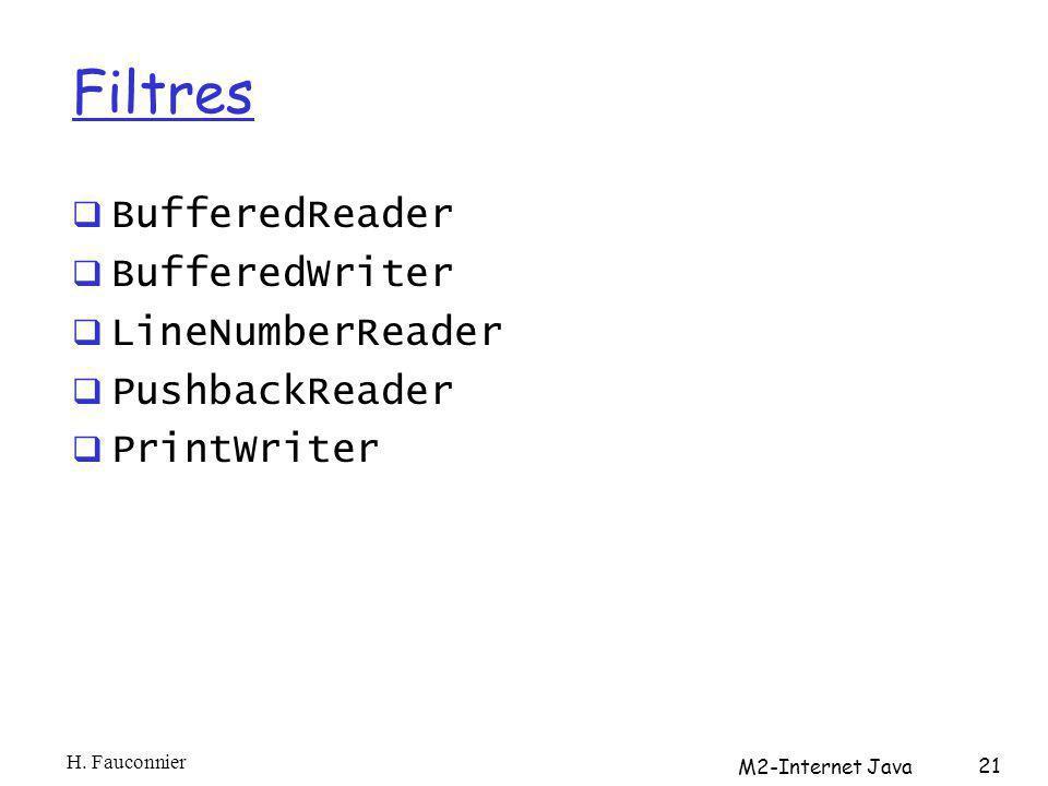 Filtres BufferedReader BufferedWriter LineNumberReader PushbackReader PrintWriter H. Fauconnier M2-Internet Java 21
