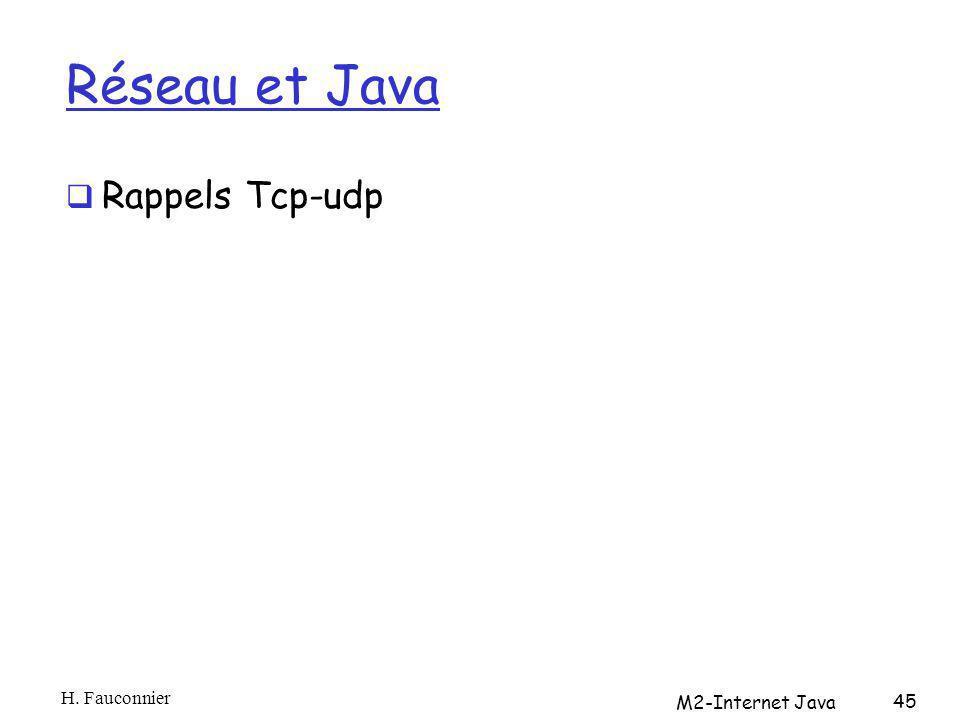Réseau et Java Rappels Tcp-udp H. Fauconnier M2-Internet Java 45