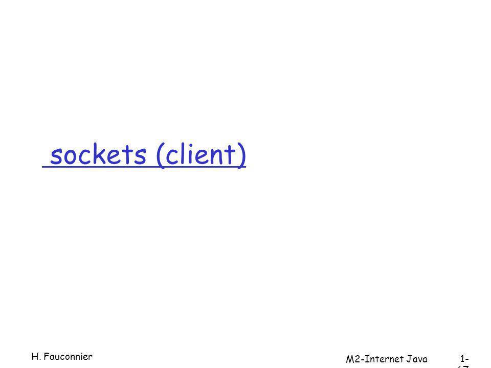 sockets (client) H. Fauconnier 1- 67 M2-Internet Java