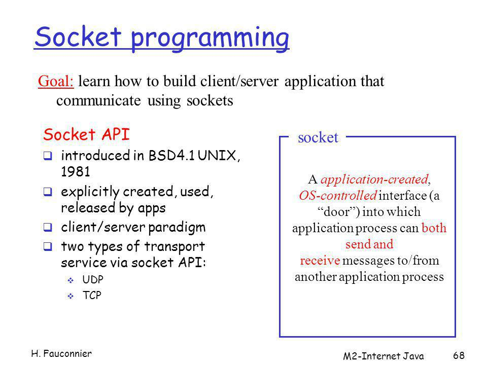 68 Socket programming Socket API introduced in BSD4.1 UNIX, 1981 explicitly created, used, released by apps client/server paradigm two types of transport service via socket API: UDP TCP A application-created, OS-controlled interface (a door) into which application process can both send and receive messages to/from another application process socket Goal: learn how to build client/server application that communicate using sockets H.
