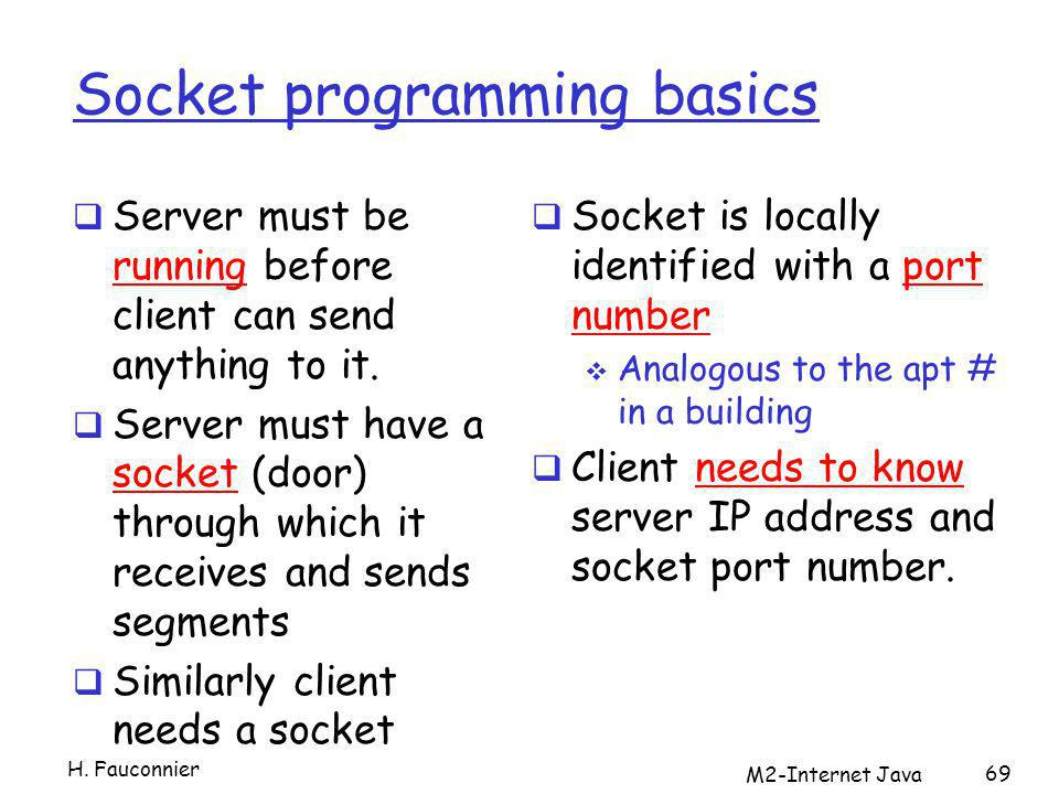 Socket programming basics Server must be running before client can send anything to it.