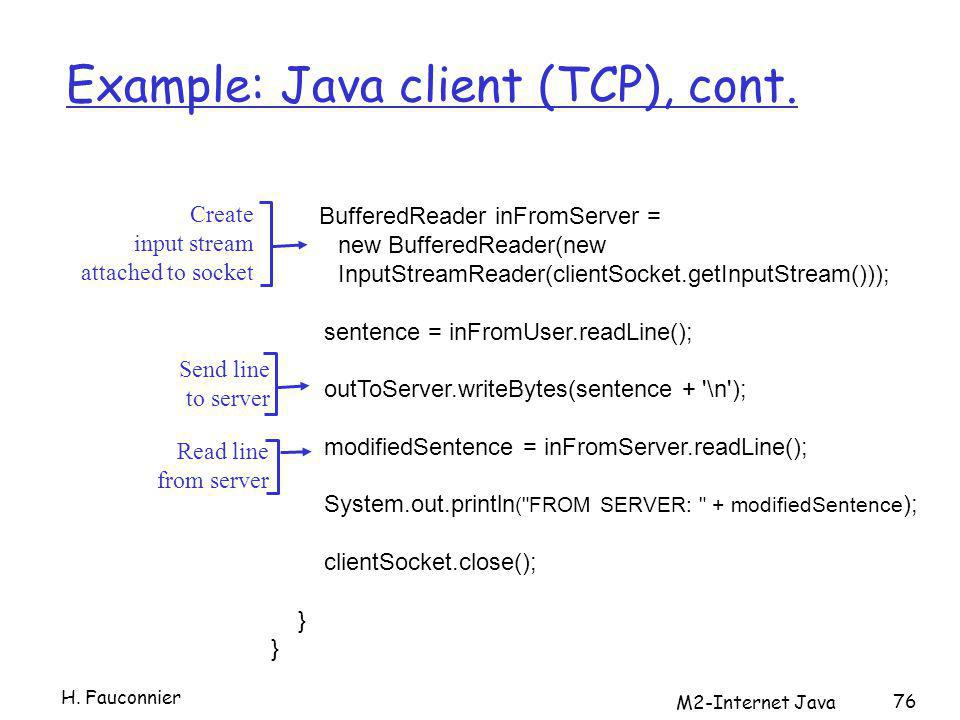 M2-Internet Java 76 Example: Java client (TCP), cont.