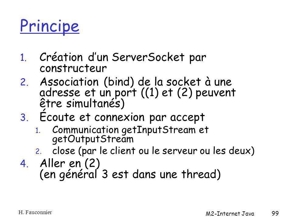 Principe 1. Création dun ServerSocket par constructeur 2. Association (bind) de la socket à une adresse et un port ((1) et (2) peuvent être simultanés