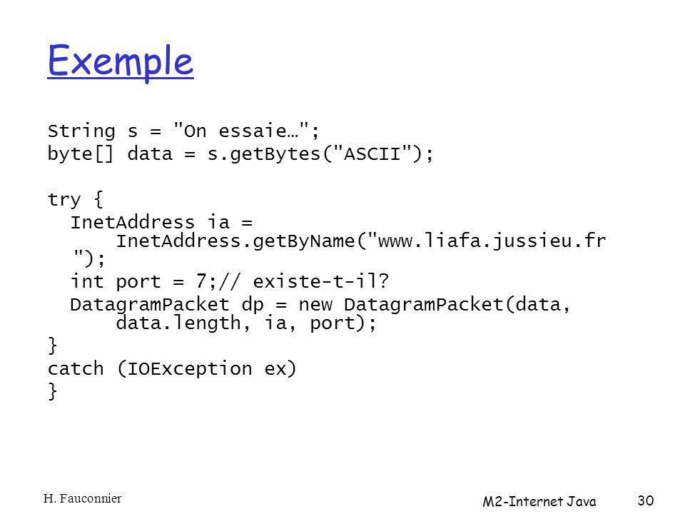 Exemple String s = On essaie… ; byte[] data = s.getBytes( ASCII ); try { InetAddress ia = InetAddress.getByName( www.liafa.jussieu.fr ); int port = 7;// existe-t-il.