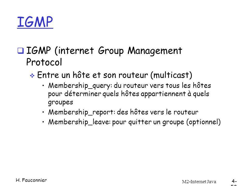 IGMP IGMP (internet Group Management Protocol Entre un hôte et son routeur (multicast) Membership_query: du routeur vers tous les hôtes pour déterminer quels hôtes appartiennent à quels groupes Membership_report: des hôtes vers le routeur Membership_leave: pour quitter un groupe (optionnel) M2-Internet Java 4- 52 H.