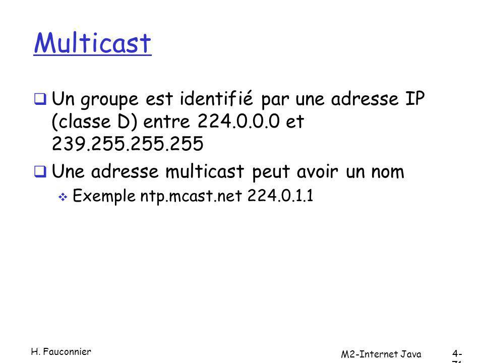 Multicast Un groupe est identifié par une adresse IP (classe D) entre 224.0.0.0 et 239.255.255.255 Une adresse multicast peut avoir un nom Exemple ntp.mcast.net 224.0.1.1 M2-Internet Java 4- 71 H.