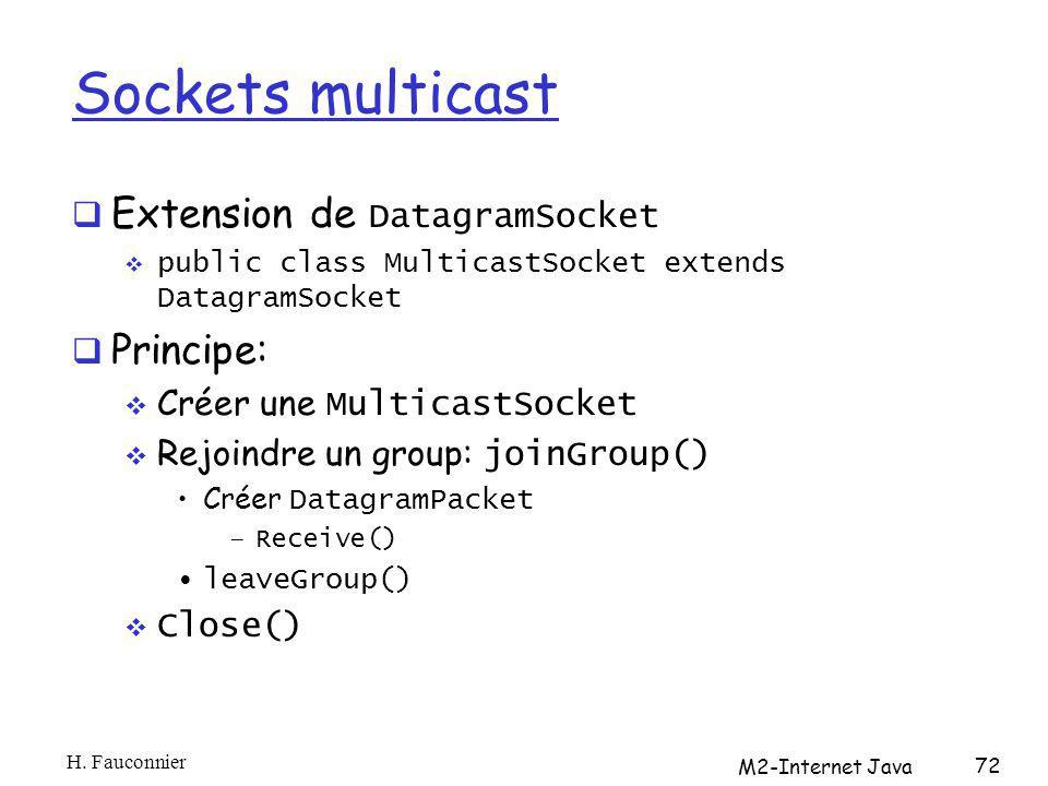 Sockets multicast Extension de DatagramSocket public class MulticastSocket extends DatagramSocket Principe: Créer une MulticastSocket Rejoindre un group: joinGroup() Créer DatagramPacket –Receive() leaveGroup() Close() H.