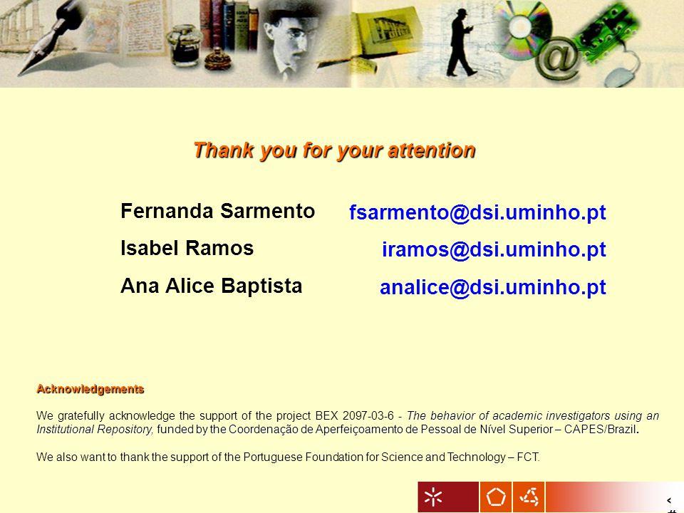 8 Acknowledgements The behavior of academic investigators using an Institutional Repository, funded by the Coordenação de Aperfeiçoamento de Pessoal d