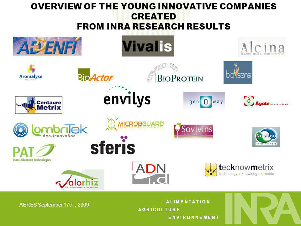 A L I M E N T A T I O N A G R I C U L T U R E E N V I R O N N E M E N T AERES September 17th, 2009 OVERVIEW OF THE YOUNG INNOVATIVE COMPANIES CREATED FROM INRA RESEARCH RESULTS