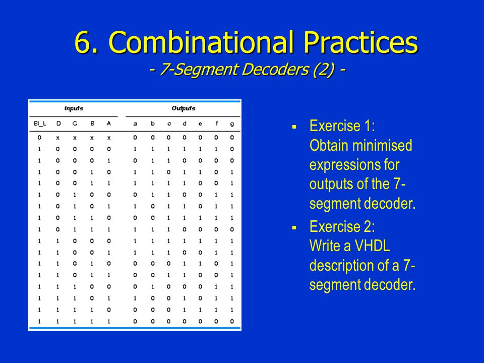 6. Combinational Practices - 7-Segment Decoders (2) - Exercise 1: Obtain minimised expressions for outputs of the 7- segment decoder. Exercise 2: Writ