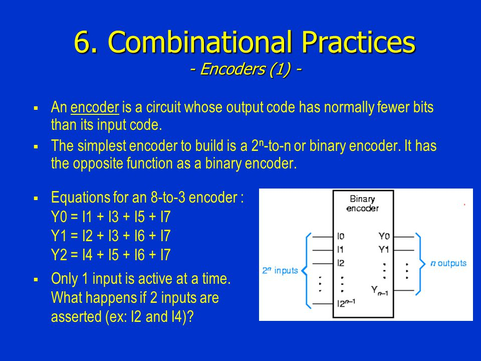 6. Combinational Practices - Encoders (1) - An encoder is a circuit whose output code has normally fewer bits than its input code. The simplest encode